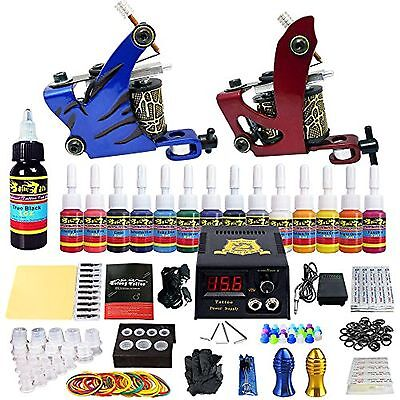 Beginner Complete Tattoo Kit 2 Tattoo Machine Guns Set 14 Ink Power Supply Needl