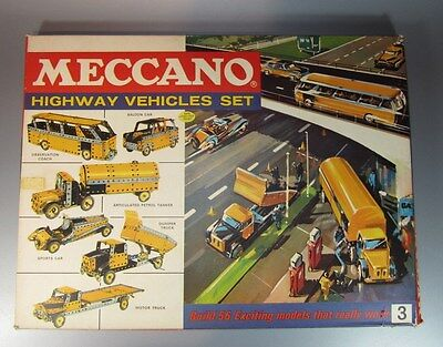 Vintage MECCANO Highway Vehicules Set # 3 New w/ Box Complet Rare w/ Instruction