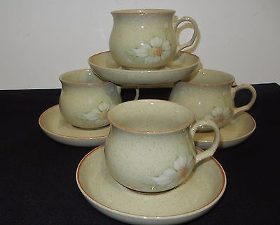 DENBY STONEWARE TEACUPS & SAUCER lot of FOUR (4) DAYBREAK pattern MINT CONDITION