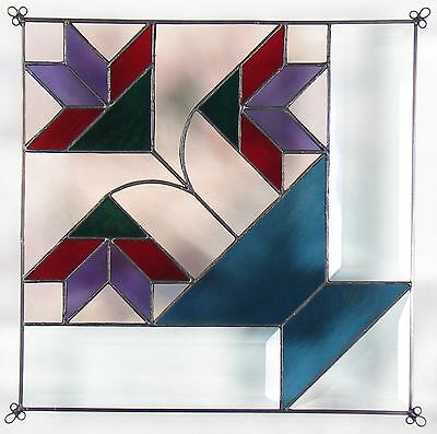 """12"""" Stained Glass Quilt Panel """"Amish Lily"""" Hand Made"""