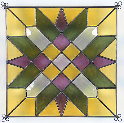 """9"""" Stained Glass Quilt Panel """"ALICE'S FAVORITE"""" Hand Made Glass Panel"""
