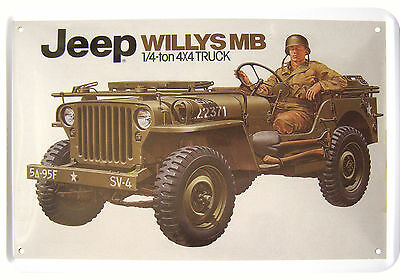 WILLY'S ARMY JEEP US ARMY 4x4 VEHICLE TIN SIGN BLECHSCHILD REPLIK