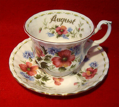Royal Albert *poppy* August Tea Cup & Saucer Flower Of The Month Series