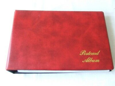 Luxury Padded Red 2 Ring Postcard Album & Clear Leaves, Excellent Condition