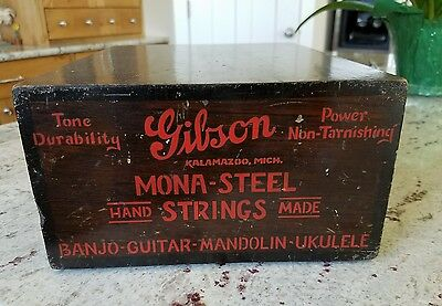 SUPER RARE 1930s? Gibson Mona-Steel Hand Made Strings Counter Display Box #39