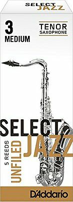 Rico Select Jazz Tenor Sax Reeds, Unfiled, Strength 3 Strength Medium, (W3a)