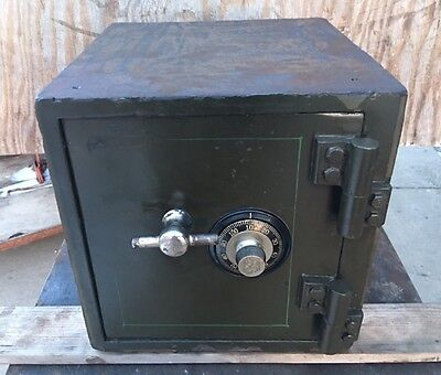 Antique Safe Money Chest With 5# Combination Halls Diebold Mosler Victor Wall