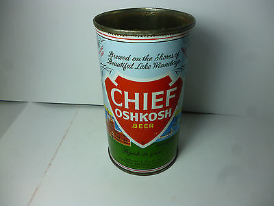Clean Chief Oshkosh Flat Top Beer Can Wisconsin 12oz Old Vintage Top Opened Nice