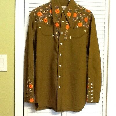 Nudie's Rodeo Tailors Nudie Cohn Men's Western Embroidered Pearl Snap Shirt EUC