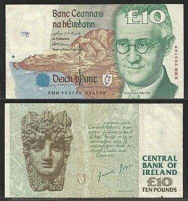 IRLANDA / IRELAND Republic - 10 Pounds 1993-99 VF++  Pick 76b