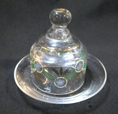 "Antique Blown Glass DOLL HOUSE Decorated CHEESE / BUTTER DISH Bohemian 2.5"" Tall"
