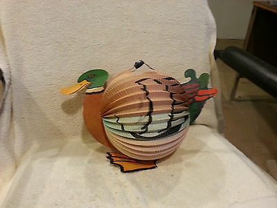 Vintage 1950s Paper Lantern Japanese Chinese Duck Candle Hanging Lamp