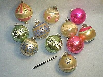 11 Extra Large Vintage Glass Christmas Tree Ornaments