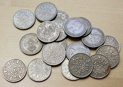 1947-1967 Lot of 19 Different Great Britain Florin Coins