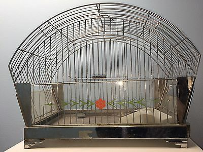 Hendryx Vintage Bird Cage Chrome Dome with Floral Panel Insert Classic Art Deco