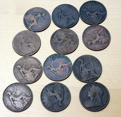 1896 -1910 Lot of 12 Different Great Britain 1 Penny Coins