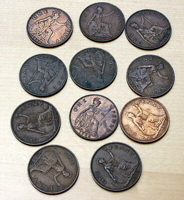 1927 -1940 Lot of 11 Different Great Britain 1 Penny Coins