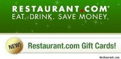 New Restaurant.com Certificate $10 Certificate to any Restaurants in network