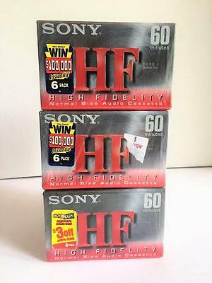 Lot of 18 Blank New SONY HF CASSETTE TAPES 60 Min.High Fidelity Normal Bias