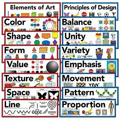 """Elements Of Art and Principles Of Design Art Poster 5"""" X 16"""" Set 16 Posters New"""