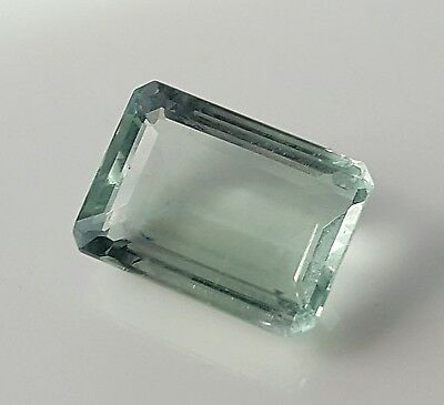 WaterfallGems Mint Green Emerald Cut Fluorite, 15x11mm, 11.71ct