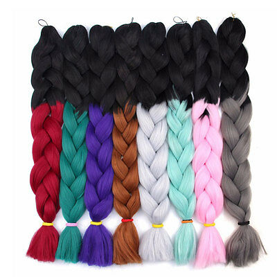 "24"" Ombre Jumbo Braids Synthetic Afro Dreads Crochet Braids Hair Extensions 100G"