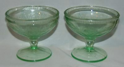 "2 US Glass CHERRYBERRY* GREEN* 3"" SHERBETS*"