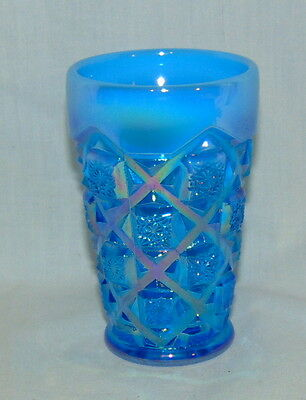 "Westmoreland  OLD QUILT*ELECTRIC BLUE CARNIVAL OPALESCENT* 3 3/4"" JUICE TUMBLER"