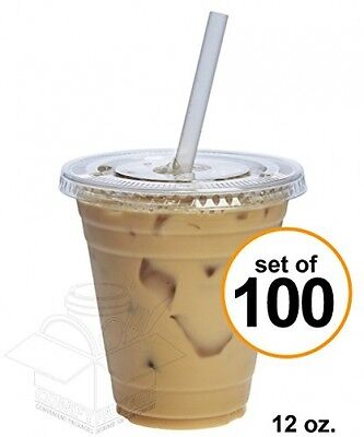 COMFY PACKAGE 100 Sets 12 Oz. Plastic CRYSTAL CLEAR Cups With Flat Lids For