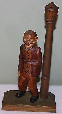 Vintage Hand Carved Made in Italy Bar Accessory of Man by Lamp