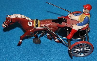 Vintage Metal Tin Wind up Toy Horse, Sulky, and Jockey Rider -- made in Germany