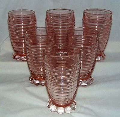 "6 Anchor Hocking MANHATTAN PINK* 5 1/4"" - 10 oz FOOTED TUMBLERS *HARD TO FIND*"