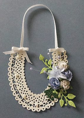 Wedding Card Topper, Blue Flowers, Cream Horseshoe,