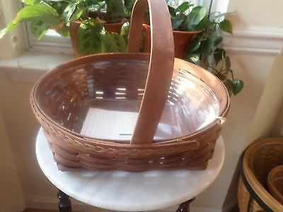 Longaberger  Fancy Pie Basket Dark Stain With Protector