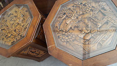2 RARE Vintage Brown Oriental Hand Carved Art wood octagon glass top end table