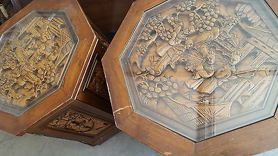 RARE Vintage Brown Oriental Hand Carved Art wood octagon glass top end table