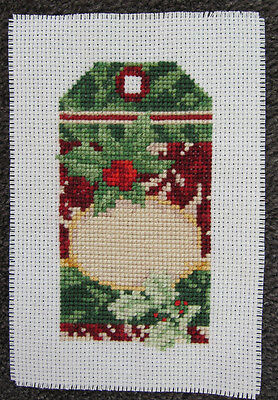 CROSS stitch HAND made PIECE decorate CHRISTMAS tag DIY red GREEN art HOLLY ivy