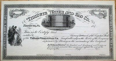 'Tidioute Water & Gas Company' 1870 Stock Certificate - Pennsylvania PA Penn
