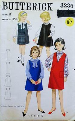 Vintage 1960's Butterick Sewing Pattern 3235 GIRLS JUMPERS SIZE 6 Complete