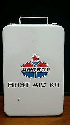 Original Amoco Gas Oil Filling Service Station Metal First Aid Kit w/ Contents