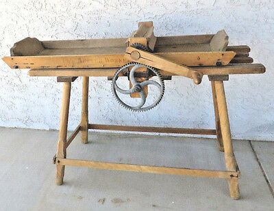 Antique BUTTER CHURN Primitive Wood Table Amish Country RARE! hand crank gear