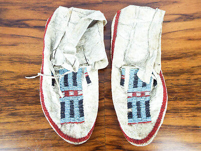 Antique Native American Hide Beaded Plains Indian Moccasins Cheyenne Crow Sioux