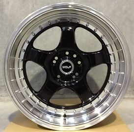 WOLF S1P WHEELS 18x9 4x114.3 / 5x114.3 +27 (PAIR) fitments to work on most cars!