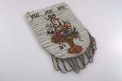 Antique French Embroidered Metal Beaded Purse