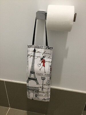 Hanging, Paris Three Rolls Toilet Paper Storage / Holder, Handmade, New