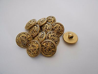 M24 * 12 Gold Royal Navy Resin Shank Buttons * 15Mm New & Unused