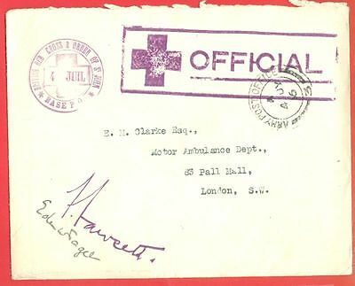 UK GB British RED CROSS & Order of St JOHN Official cover used from APO 1916