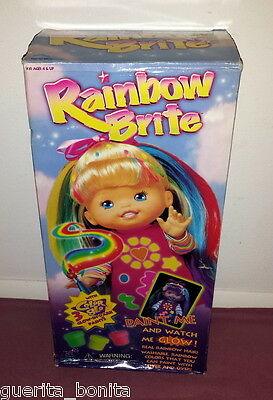 """Up Up & Away Rainbow Brite 15"""" Doll Color Glo Paints Purple Dress - Glow Bright"""