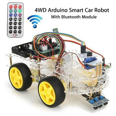 DIY 4WD Smart Robot Car Chassis Kits With Bluetooth Module Encoder For Arduino