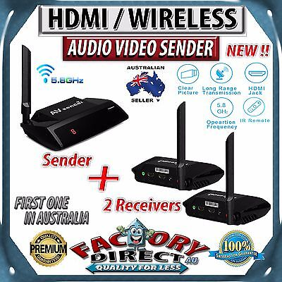 5.8GHz HDMI WIRELESS AV Sender Transmitter + 2 WIRELESS Receivers TV AUDIO VIDEO